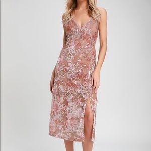 Mauve Velvet Floral Print Dress- size S